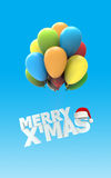 Merry X Mas font. As colorful air balloons on blue background with Santa claus hat 3d render Royalty Free Stock Photography