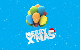 Merry X Mas font as colorful air balloons. On white snow and blue background with Santa claus hat 3d render Stock Photo