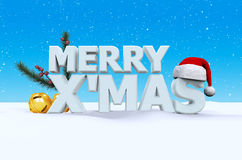 Merry X'Mas. Merry X Mas font on white snow and blue background with Santaclaus hat, small bell, and pine branches, 3d render Royalty Free Stock Photo