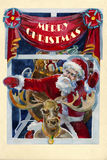Merry x-mas old fashioned christmas watercolor card with Santa a. Nd raindeer into the window in the holy night Royalty Free Stock Photos