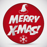 Merry X-mas Red Button, Vector Illustration royalty free stock images