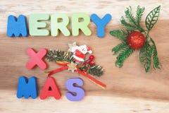 Merry x`mas wooden alphabet Stock Photography