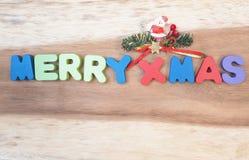 Merry x`mas wooden alphabet Royalty Free Stock Photos