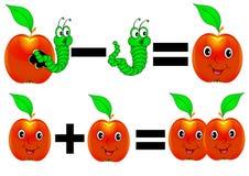 Merry mathematics apple plus minus Royalty Free Stock Image
