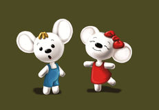 Happy mice. Two mice funniest that plays together royalty free illustration