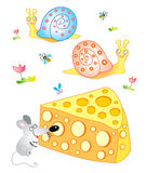 Merry mouse with cheese Royalty Free Stock Photo