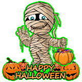Merry mummy wishes happy halloween on isolated white background. Vector illustration Merry mummy wishes happy halloween on isolated white background royalty free illustration