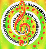Merry musical poster with treble clef and hearts Stock Photography