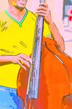 A merry musician sings and plays on a double bass. A cheerful street musician in a yellow T-shirt sings and plays a brown double bass Stock Images
