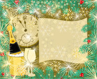 Merry New Year background with branches of spruce vector. Illustration Royalty Free Stock Photo