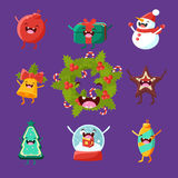 Merry new year and Christmas. Items cute faces Royalty Free Stock Photography