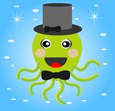 Merry octopus in a hat on a blue background. Ial illustration Stock Photos