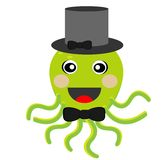 Merry octopus in a hat on a white background. Ial illustration Stock Photography