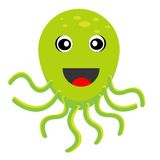 Merry octopus on a white background. Vectorial illustration Stock Photos