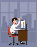 Merry office worker.successful businessman.illustration Stock Image