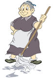 Merry old cleaning lady. Merry old charwoman with mop. Vector illustration Royalty Free Stock Image