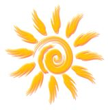 Merry optimistic sun  style watercolours. Beautiful symbol for travel flyer Stock Photos