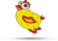 Merry painted yellow chicken. Vector Stock Photos