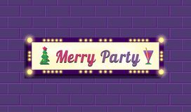 Merry party billboard. Merry party marquee billboard, advertising border bulbs. Glowing illuminated panel for Happy Holidays event. Vector decorative Christmas Stock Images