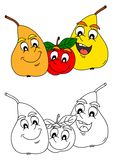Merry pear and apple as coloring books for little kids Royalty Free Stock Image