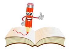 Merry pencil on an open book Stock Photo