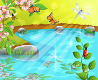 Merry pond in the spring. Vector illustration of a pond, insects and flowers in a spring landscape Stock Photo