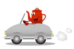 Merry red tea-pot after the helm of car Royalty Free Stock Image
