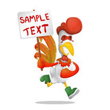 Merry rooster runs with a poster in his hand. Great design element Stock Photo
