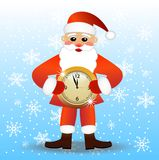 Merry Santa claus with a clock Royalty Free Stock Image