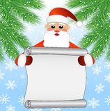 Merry Santa claus holds the sheet of paper, christmas background Stock Image