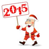 Merry Santa claus with numbers 2015. Vector illustration Royalty Free Stock Photography