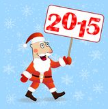 Merry Santa claus with numbers 2015. Vector illustration Royalty Free Stock Photos