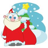 Santa Claus with a bag of gifts. cartoon stock illustration