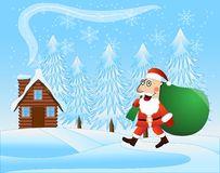 Merry Santa claus with the sack of gifts on a background winter Royalty Free Stock Photos