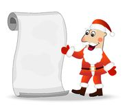 Merry Santa claus shows on the sheet of paper Royalty Free Stock Image