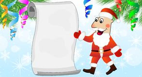 Merry Santa claus shows on the sheet of paper Stock Photo