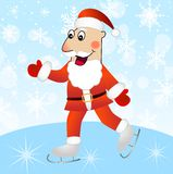 Merry Santa claus on skates Stock Images