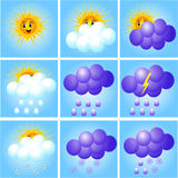 Merry set of icons to indicate weather Royalty Free Stock Images