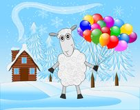 Merry sheep with air marbles on a background winter landscape. Vector  illustration Stock Images