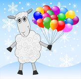 Merry sheep with air marbles. On a background winter landscape,  vector  illustration Royalty Free Stock Photos