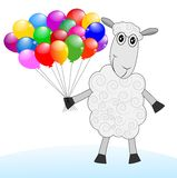 Merry sheep with air marbles. On a white background,vector illustration Stock Images