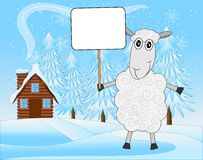Merry sheep on a background winter landscape. Vector  illustration Royalty Free Stock Photo