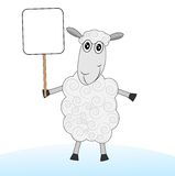 Merry sheep with a banner on a white background Stock Photo