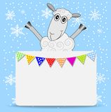 Merry sheep and greeting-card with a garland Stock Photos