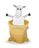 Merry sheep in a sack on a white background Stock Photo