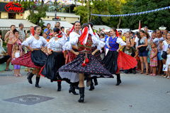 Merry Slovak dancing girls Stock Photo