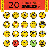 20 Merry smiles. A set of conceptual smiles. Thin line colored smiles set Stock Photography