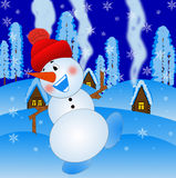 Merry snow man on a background winter landscape Royalty Free Stock Image