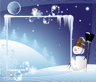 Free Merry Snow Man With A Broom Stock Photos - 12092103