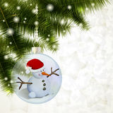 Merry Snowman. Christmas background with snowman ball, pine and lights Royalty Free Stock Image